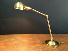 Brass Articulating Table Desk Lamp Adjustable Hubbell Shade Working - Nice!