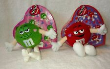 M&M's Red& Green Valentine Heart Boxes With Plush Characters