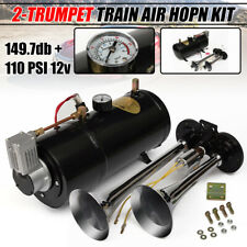 150DB LOUD DUAL TRUMPET AIR HORN 110PSI 12V COMPRESSOR TANK TRUCK TRAIN TUBING