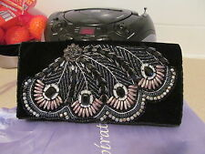 VERY LOVELY LADIES EVENING CLUTCH BAG VELOUR WITH BEADED FRONT SINGLE SNAP