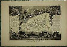 1856 MAP FRANCE DEPARTMENT ~ DES PYRENEES ORLEANS PERPIGNAN PRADES VINEA