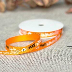 Happy Halloween Orange Ribbon | Spider Crafts Grosgrain Fabric Gift Wrap 5m