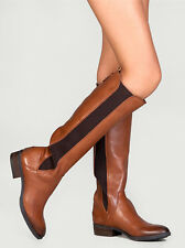 NEW Sam Edelman Paradox Whiskey Leather/Elastic Knee-High Slip on Boot Size 7 M
