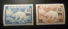 pair Greenland stamp # 39 - 40 mint Og Nh Vf