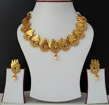 Ethnic Bollywood Designer Gold Plated Indian Royal Necklace Earring Jewelry Set