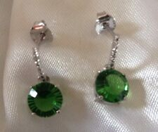 Helenite Earrings, Drop, Dangle, Platinum Overlay Sterling Silver, 3.170 Cts