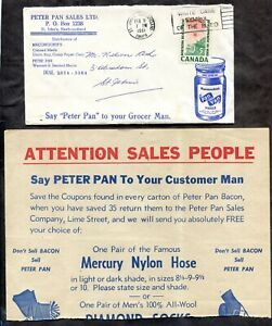 p1363 - ST JOHN Newfoundland 1961 Slogan on Advertising Cover. Peter Pan Foods ✉
