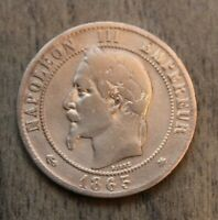 Old French Coin 10 Centimes Francs 1863 Napoleon III - Mintmark A Bronze France