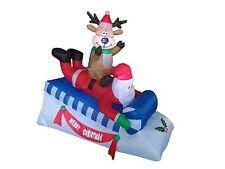 Christmas Inflatable Santa Reindeer Deer Moose Sleigh Sled Outdoor Decoration