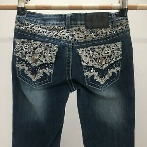 Soundgirl Bootcut Jeans Womens 3 Blue Denim Low Rise Zip Fly Embroidered Back