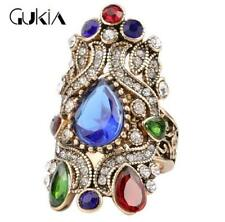 3D Luxury Men's Woman Gold Inlaid multicolor Stone Crystal Female Ring Size 10