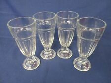 4 Glasses Ice Cream Knickerbocker Soda Clear 1950's American Diner - 18cm High
