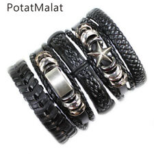 5Pcs Vintage Leather Bracelets For Women Alloy Leather Bracelet & Bangle Male F8