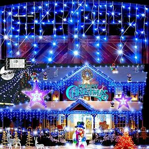 360 Blue & White Icicle Ultra Bright LED Light Indoor/Outdoor Christmas 8 mode