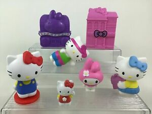 Hello Kitty My Melody 7pc Lot Toy Figures Houses Sanrio McDonalds