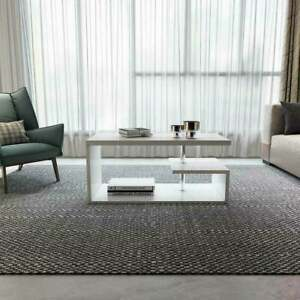 Coffee Table Side End Tea Table W/ Shelf Storage LED Living Room Furniture XMAS