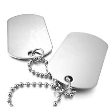 2 PCS Alloy Pendant Necklace Pendant Silver Double Dog Tag plate Army Biker X5T9