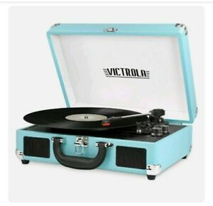 Blue Aqua Victrola Record Player 3-Speed Turntable Bluetooth Portable Suitcase