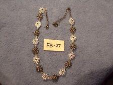 """Silvertone & Black 17"""" Liz Claiborne Necklace, Bubble Flower      FB-27"""