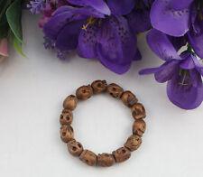 Stretch Bracelet #22142 5Pcs Wooden Skull Beaded
