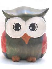 "Wooden Owl Hand Carved And Hand Painted Wood  Home Decor Sculpture 7"" #2653"