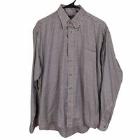 Gitman Bros Button Front Shirt Mens Medium Beige Blue Red Check Cotton L/S