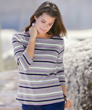 Damart Stripe T-Shirt Size Uk 18 rrp £26 LS171 HH 12