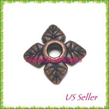 50pcs Antique Copper Tibetan Style 4 Petal Flower Bead Caps 6mm Jewelry Findings