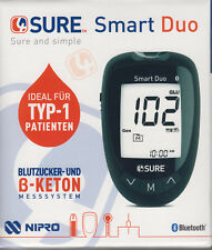 4SURE Smart Duo Blood + Keton-Messgerät MG / DL Plus Bz-Teststreifen - New+Boxed