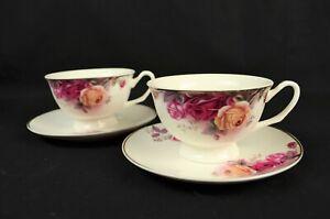 Tea Set With Rose Pattern. 2 Cups & 2 Saucers. Fine Bone China.