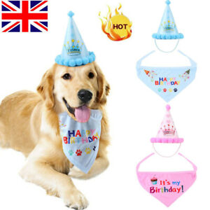 Pet Dog Cat Happy Birthday Hat Headwear Bandana Cute Neckerchief Ties Party UK