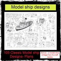 105 Classic Model ship Designs- Plans - Vintage builds - blueprints model making