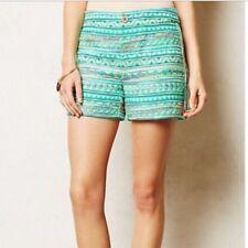 ELEVENSES ANTHROPOLOGIE Shorts Turquoise Multi-Color Boho Tribal Size 2