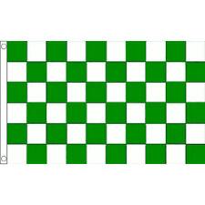 Green & White Chequered Check Flag 5 x 3 FT - Celtic Hibs Hibernian Fermanagh