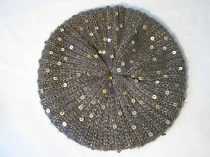 Accessorize Grey Knitted Beret with Gold Sequins. Good Condition