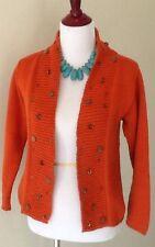 Pure Handknit Cardigan, Size S/M, Orange, Cotton, Beaded Detail