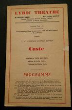 Lyric Theatre Programme: Clement McCallin Morland Graham Frith Banbury in CASTE