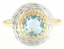 Cute Fine Gold Blue Topaz Ring 14k Yellow & White Gold Size 8