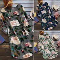 Women's Scoop Neck Print Floral Casual Short Dress Cotton Top Blouse Sundress