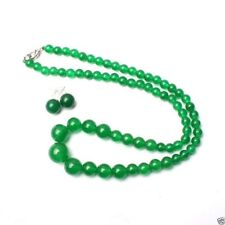 beautiful 6-14mm Natural Green Jade Round Beads Necklace Earrings Set JN132
