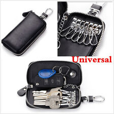 1Pcs Black Genuine Leather Men & Women Car Key Bag Wallet Multifunction Key Case