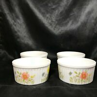 """Set of 4 COUNTRY FLOWERS by ANDREA Ramekin Bowls Fluted Oven to Table 4"""""""