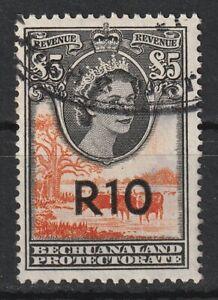1961 Bechuanaland Bft:71 R10 on £5 Orange & Black. A Very Fine Used Revenue.