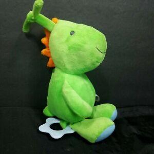 "Carter's Child of Mine Green Dinosaur Musical Crib Plush Lullaby 9"" Teether Pull"