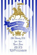 Prince Party Personalised Invitations and Envelopes x 10