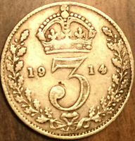 1914 UK GREAT BRITAIN SILVER THREEPENCE