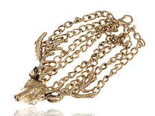 Golden Tone Antique Inspired Southwestern Deer Grazing Chained Linking Bracelet