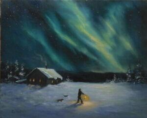 Northern Lights 8x10 orig oil painting Celene Farris Maine winter snow night