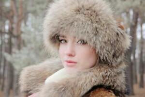 Real Fur Headband Winter Headbands Women Hats Clothing Head Wraps (Natural)