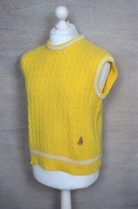 YVES SAINT LAURENT YSL Tricots Pour Homme vintage yellow cable vest jumper L